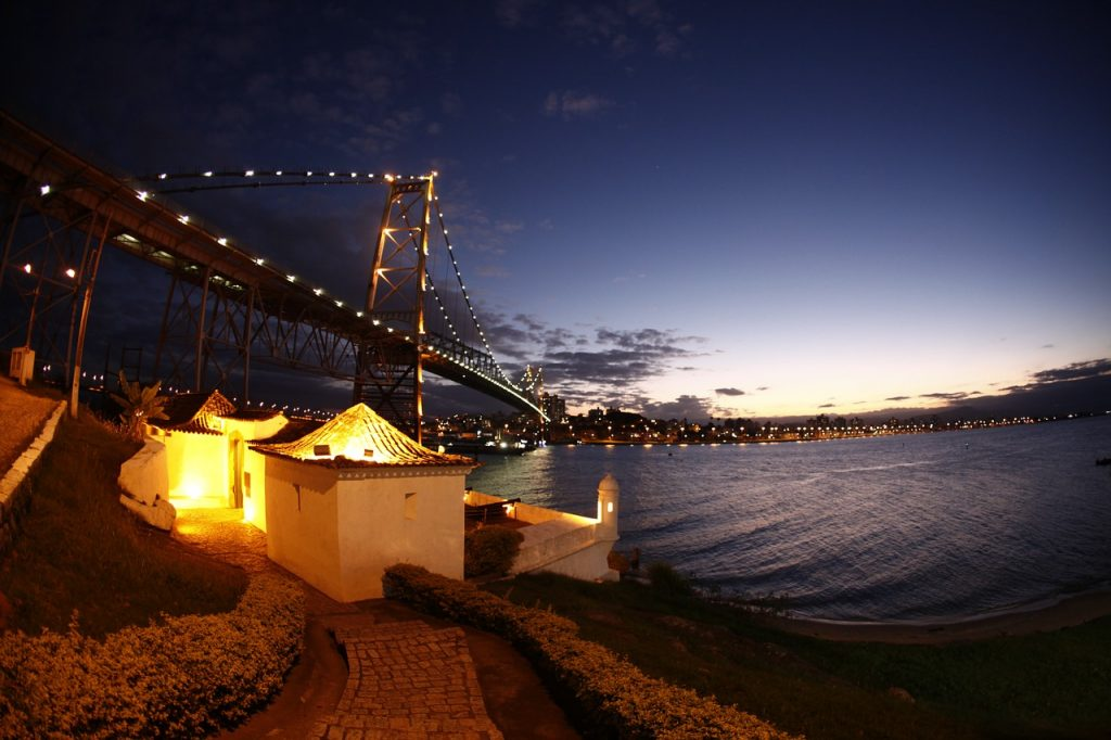 Bridge Hercilio Luz, Florianópolis, Brazil. One of the best cities in the planet for Digital Nomads
